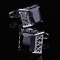 Men's Stainless Steel Silver Big Square Black Cufflinks with Box