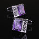 Men's Stainless Steel Silver Big Square Purple Cufflinks with Box