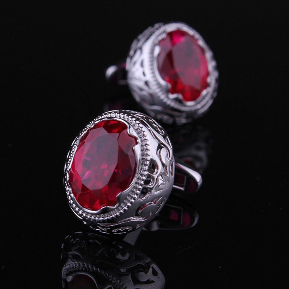 Mens Stainless Steel Silver with Big Round Red Stone Cufflinks for Shirt with Box - Hand Crafted - Amedeo Exclusive