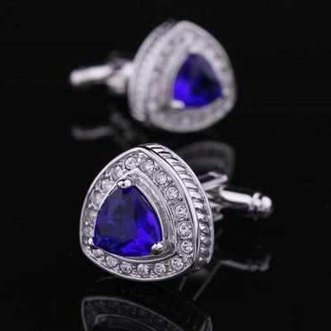 Stainless Steel Men's Blue Stone Triangle Cufflinks