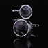 Silver with Black Mens Stainless Steel Temperature Cufflinks for Shirt with Box - Hand Crafted