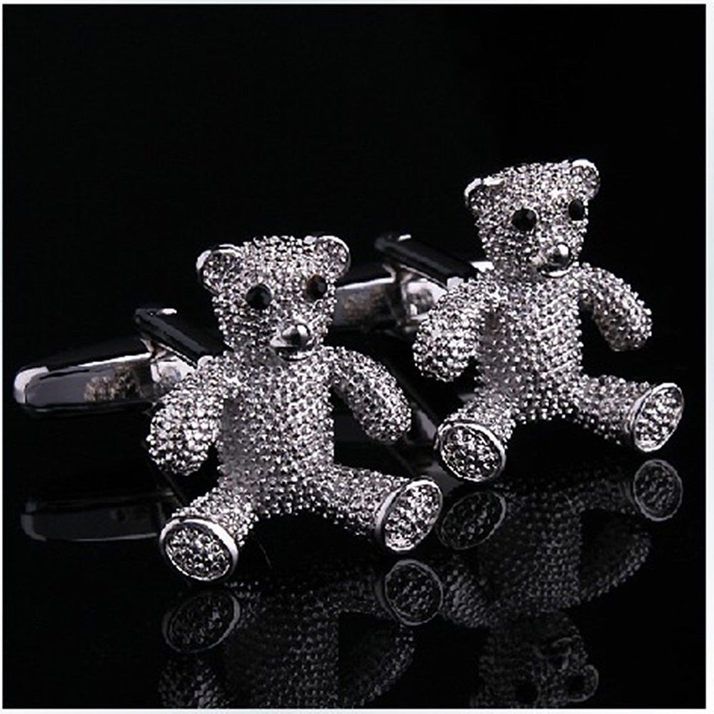 Men's Stainless Steel Silver Bears Cufflinks with Box - Amedeo Exclusive