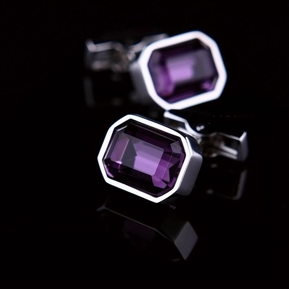 Men's Stainless Steel Silver with Big Purple Stone Rectangular Cufflinks with Box