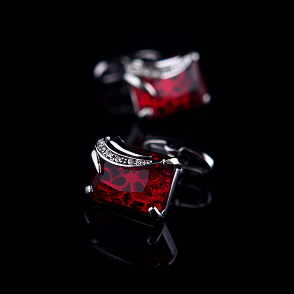 Men's Stainless Steel Exclusive Silver + Burgundy Squares Cufflinks with Box - Amedeo Exclusive