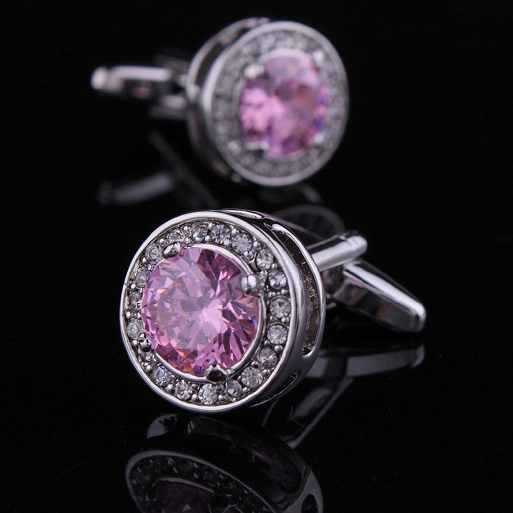 Men's Stainless Steel Pink Round Big Stone Cufflinks with Box
