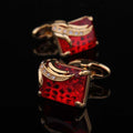 Stainless Steel Men's Gold + Red Squares Cufflinks