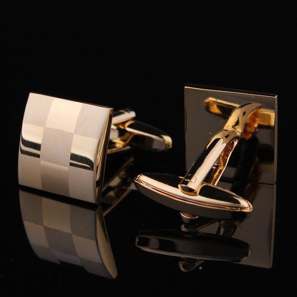 Men's Stainless Steel Gold Squares Cufflinks Gift Box