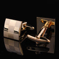Men's Stainless Steel Gold Squares Cufflinks with Box