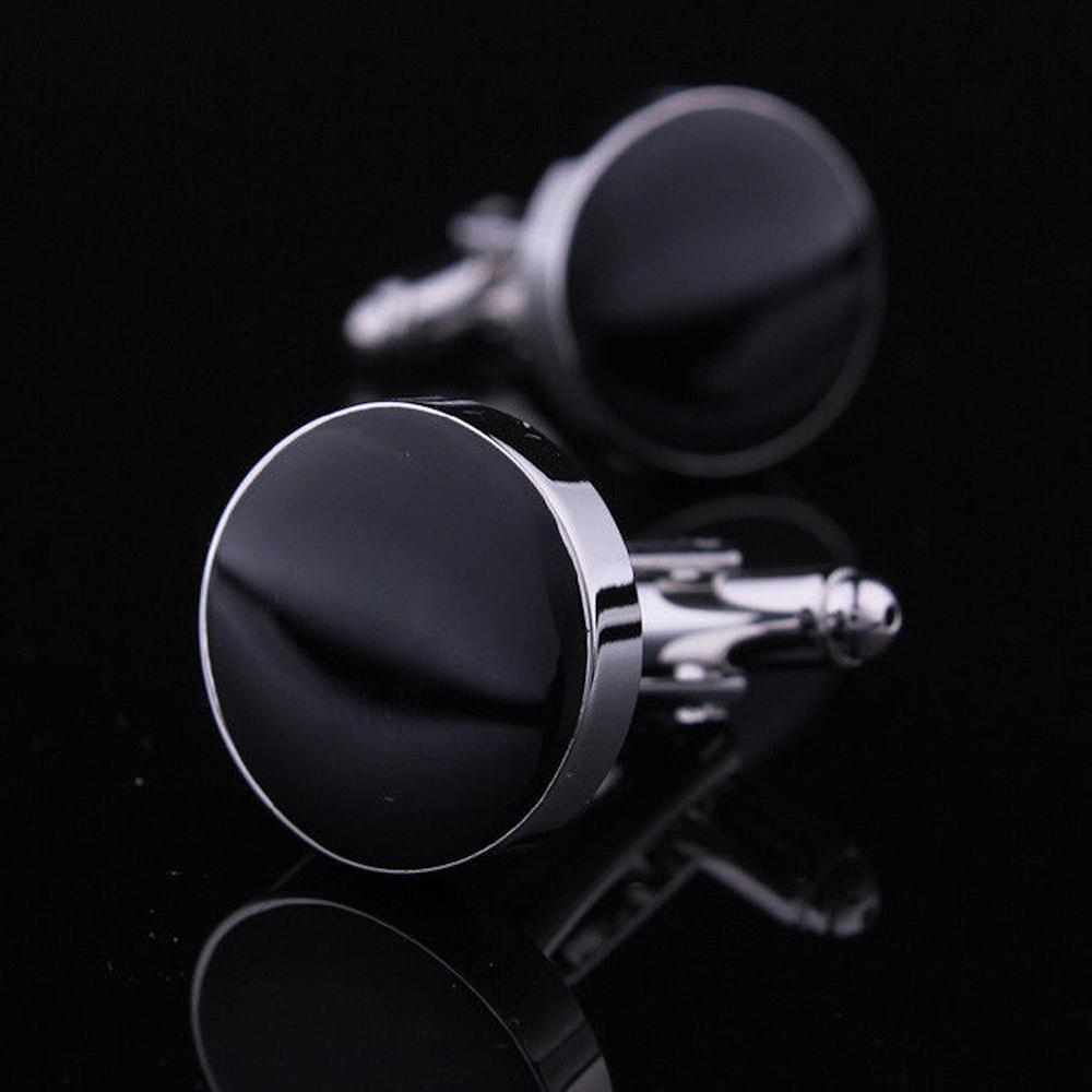 Men's Stainless Steel Silver with Black Solid Round Cufflinks with Box - Amedeo Exclusive
