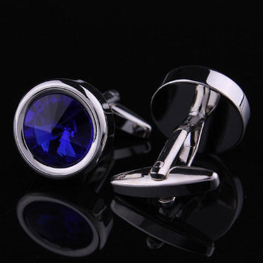 Stainless Steel Men's Silver with blue round stone Cufflinks
