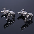 Men's Stainless Steel Silver Elephants Cufflinks Box