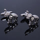 Men's Stainless Steel Silver Elephants Cufflinks with Box