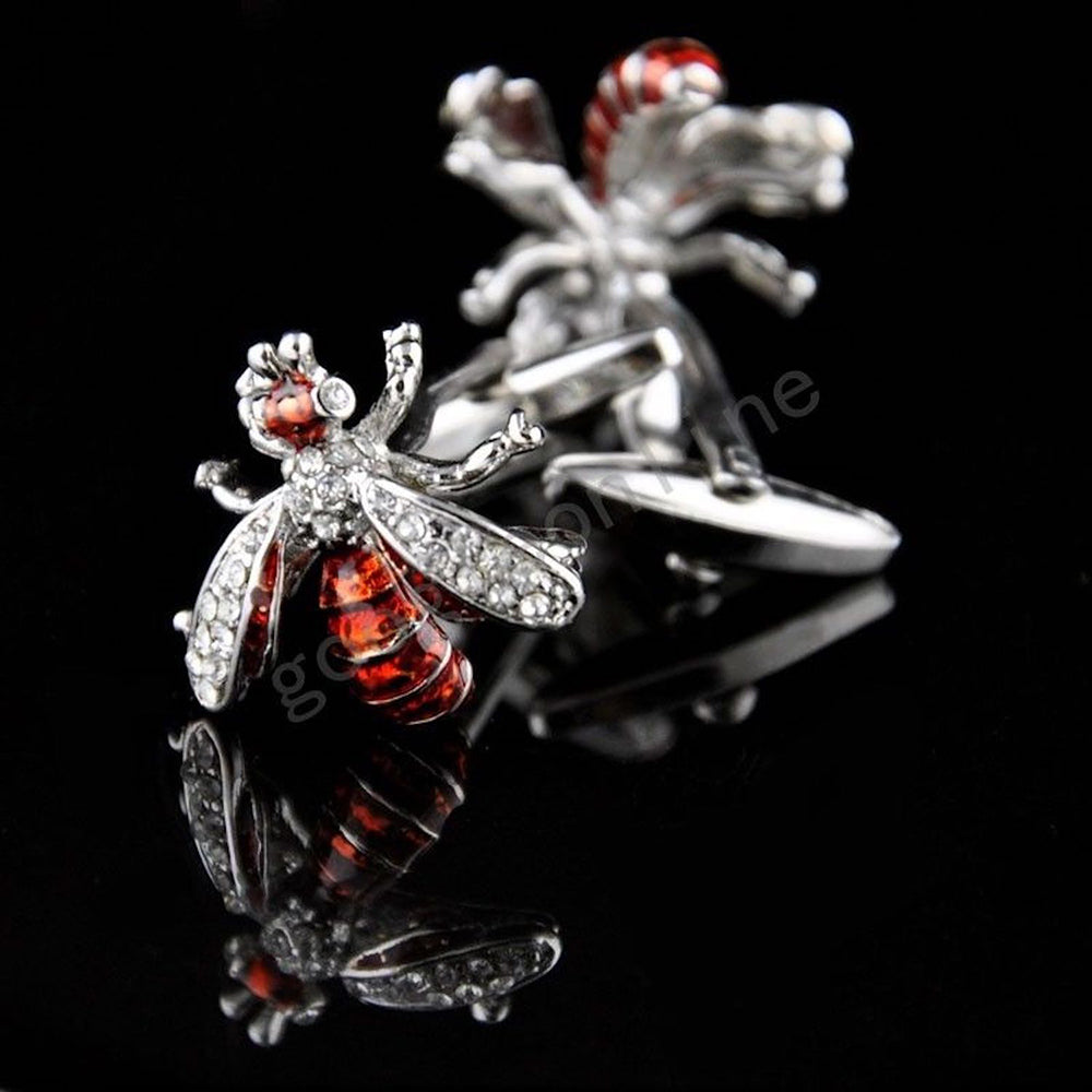 Mens Stainless Steel Red Diamond Flies Cufflinks for Shirt with Box - Hand Crafted Perfect Gift - Amedeo Exclusive
