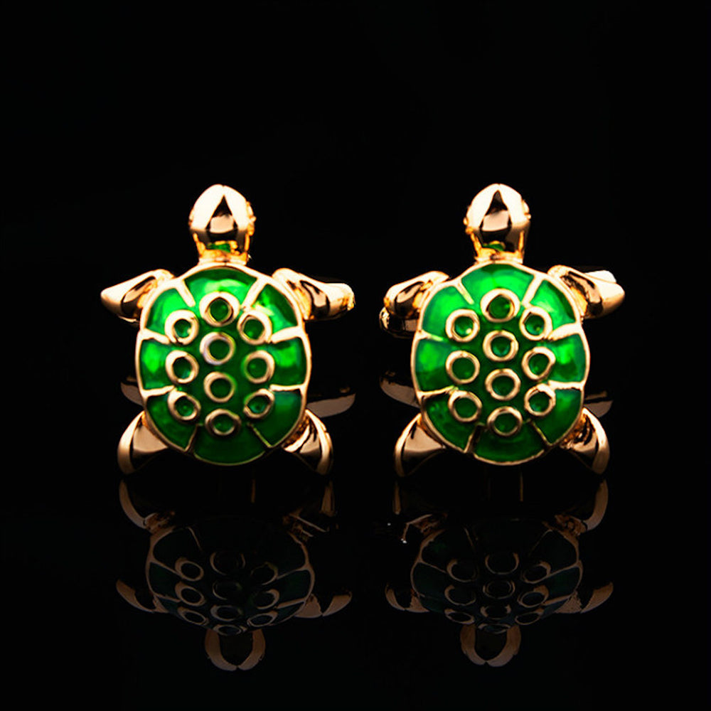 Stainless Steel Men's Green & Gold Turtles Cufflinks