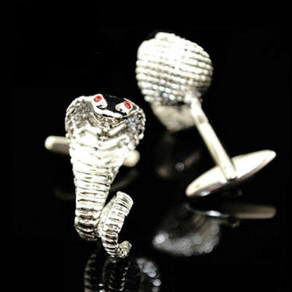 Men's Stainless Steel Silver Snakes Cufflinks with Box