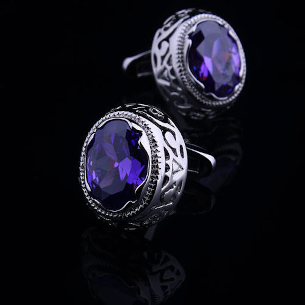 Mens Stainless Steel Silver w/ Big Purple Stone Cufflinks for Shirt with Box - Hand Crafted - Amedeo Exclusive