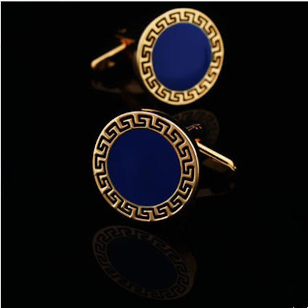 Men's Stainless Steel Gold & Blue Circles Cufflinks with Box