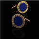Men's Stainless Steel Gold & Blue Circles Cufflinks with Box - Amedeo Exclusive