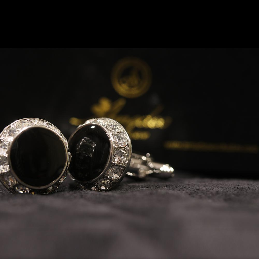 Men's Stainless Steel Black Round with Stones Cufflinks with Box