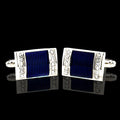 Men's Stainless Steel Silver with Blue Marble Cufflinks with Box