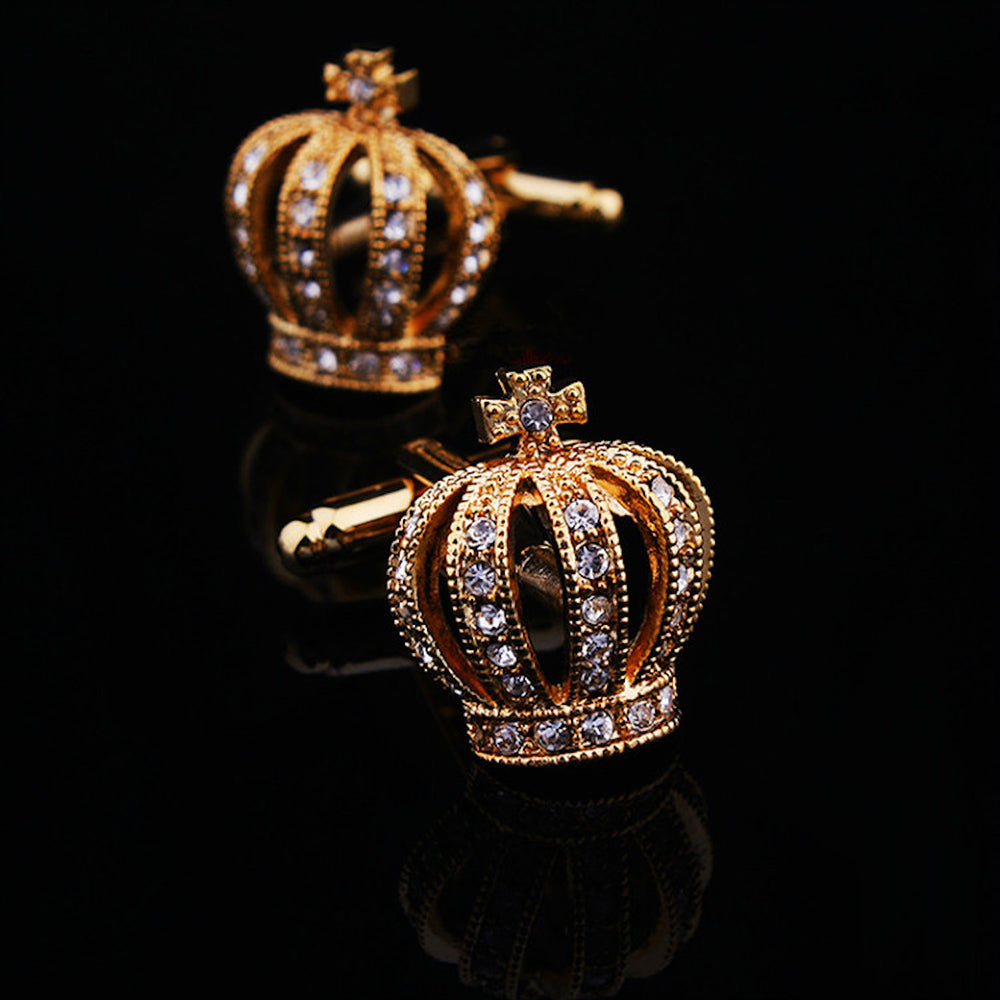 Men's Stainless Steel Gold Diamond Crowns Cufflinks with Box