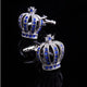 Men's Stainless Steel Silver Diamond Crowns Cufflinks with Box