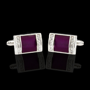Men's Stainless Steel Silver with Purple and Stones Cufflinks with Box