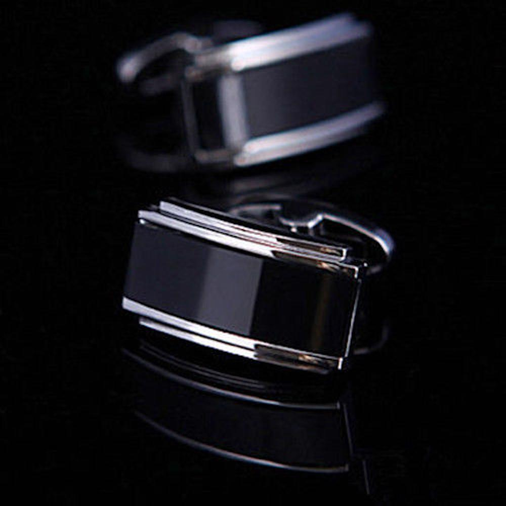 Mens Stainless Steel Black Oynx Rectangles Cufflinks for Shirt with Box - Hand Crafted Perfect Gift - Amedeo Exclusive