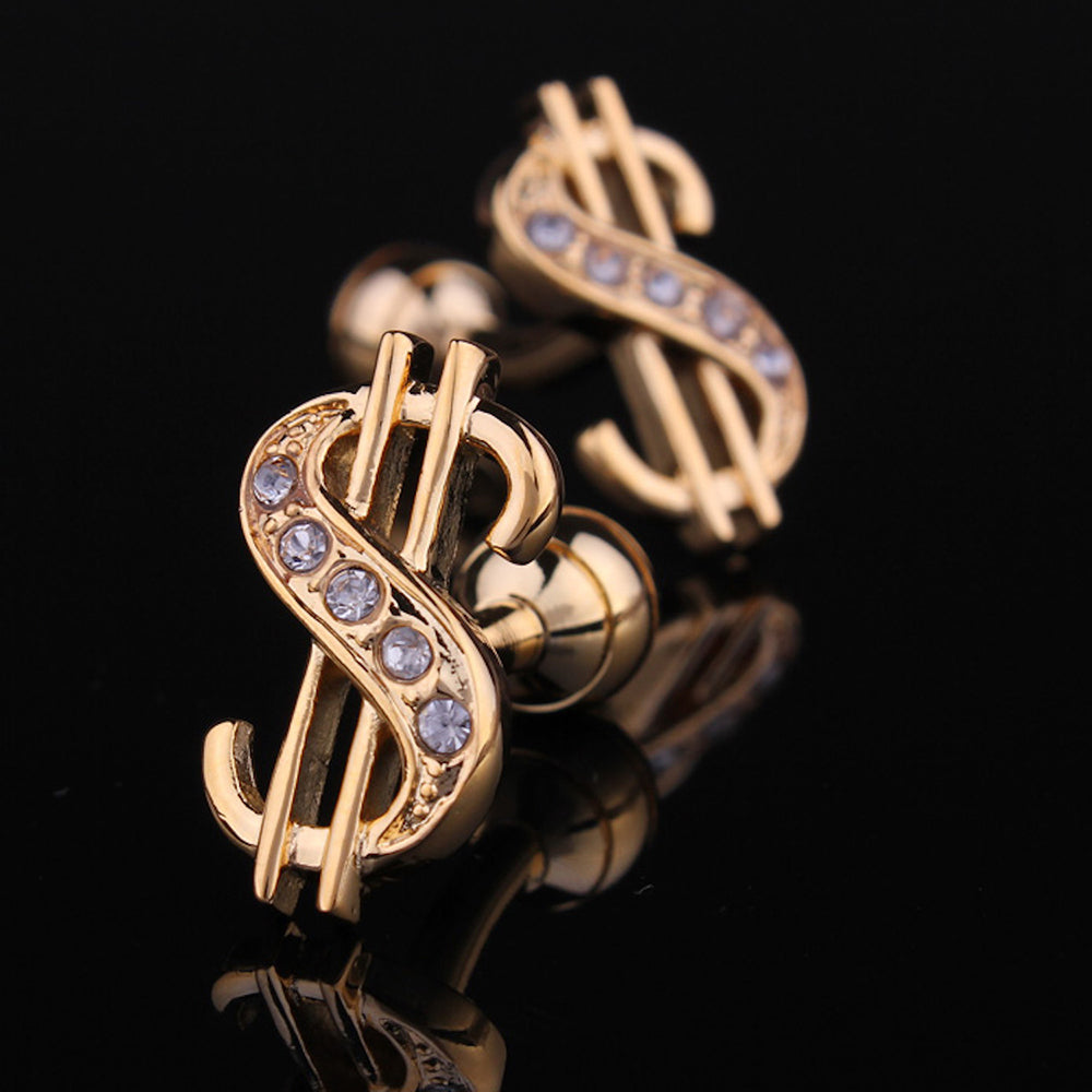 Men's Stainless Steel Gold Dollar Signs Cufflinks with Box