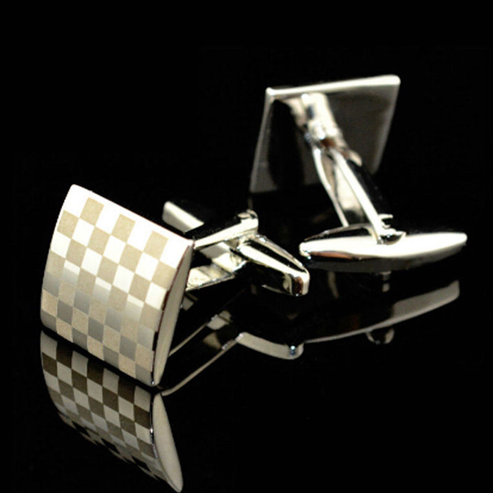 Men's Stainless Steel Silver Squares Cufflinks Box