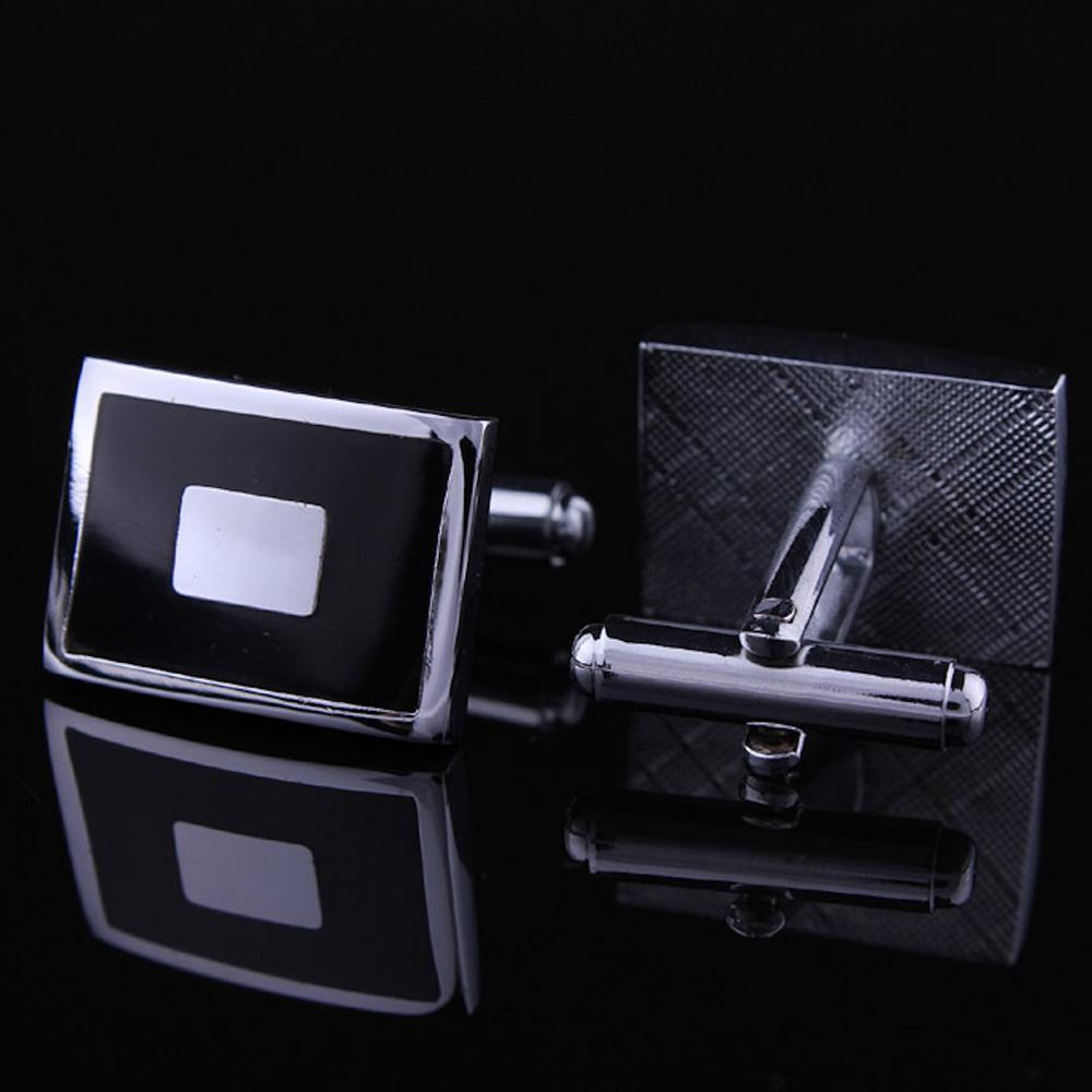 Men's Stainless Steel Black with Silver Sqaures Cufflinks with Box - Amedeo Exclusive