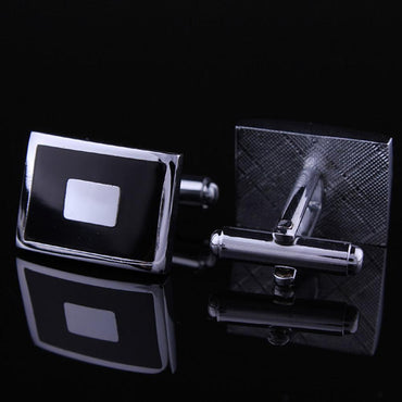 Men's Stainless Steel Black with Silver Sqaures Cufflinks with Box