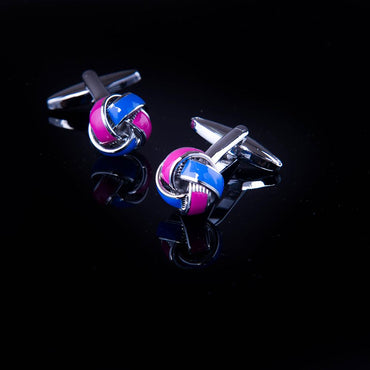 Men's Stainless Steel Blue and Pink Knots Cufflinks with Box
