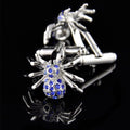 Men's Stainless Steel Silver and Blue Spiders Cufflinks with Box - Amedeo Exclusive