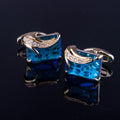 Men's Stainless Steel Exclusive Gold + Light Blue Squares Cufflinks with Box - Amedeo Exclusive