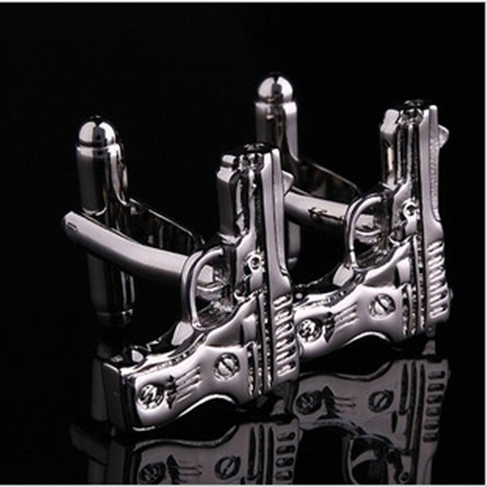 Mens Stainless Steel Silver Guns Cufflinks for Shirt with Box - Hand Crafted Perfect Gift - Amedeo Exclusive