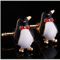 Men's Stainless Steel Gold Penguins Cufflinks Gift Box