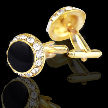 Men's Stainless Steel Gold Circles With Stones Cufflinks with Box
