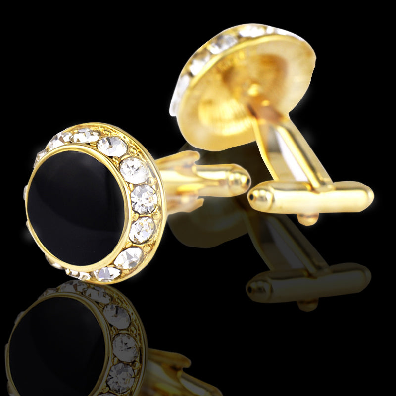 Men's Stainless Steel Gold Circles With Stones Cufflinks with Box - Amedeo Exclusive