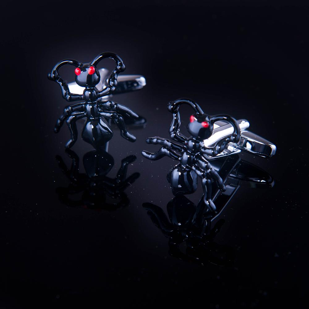 Men's Stainless Steel Black Bug Cufflinks with Box - Amedeo Exclusive