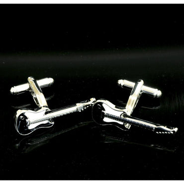 Men's Stainless Steel Black and White Guitars Cufflinks with Box - Amedeo Exclusive