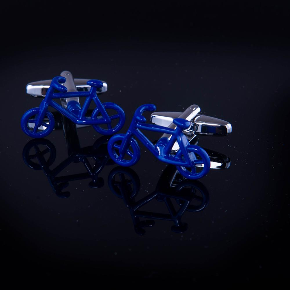 Men's Stainless Steel Blue Bikes Cufflinks with Box - Amedeo Exclusive