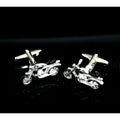 Men's Silver and Black Motorbikes Pair Gift Box & Polishing Cloth Cufflinks