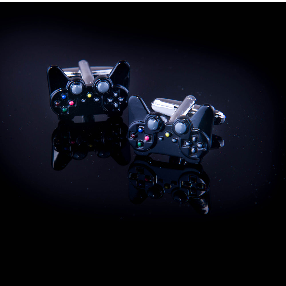 Men's Game Collection Black Enamel Gaming Nerd Controller Cufflinks