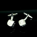 Men's Flashy Dice Crystal Pair Cufflinks Presentation Gift Box & Polishing Cloth