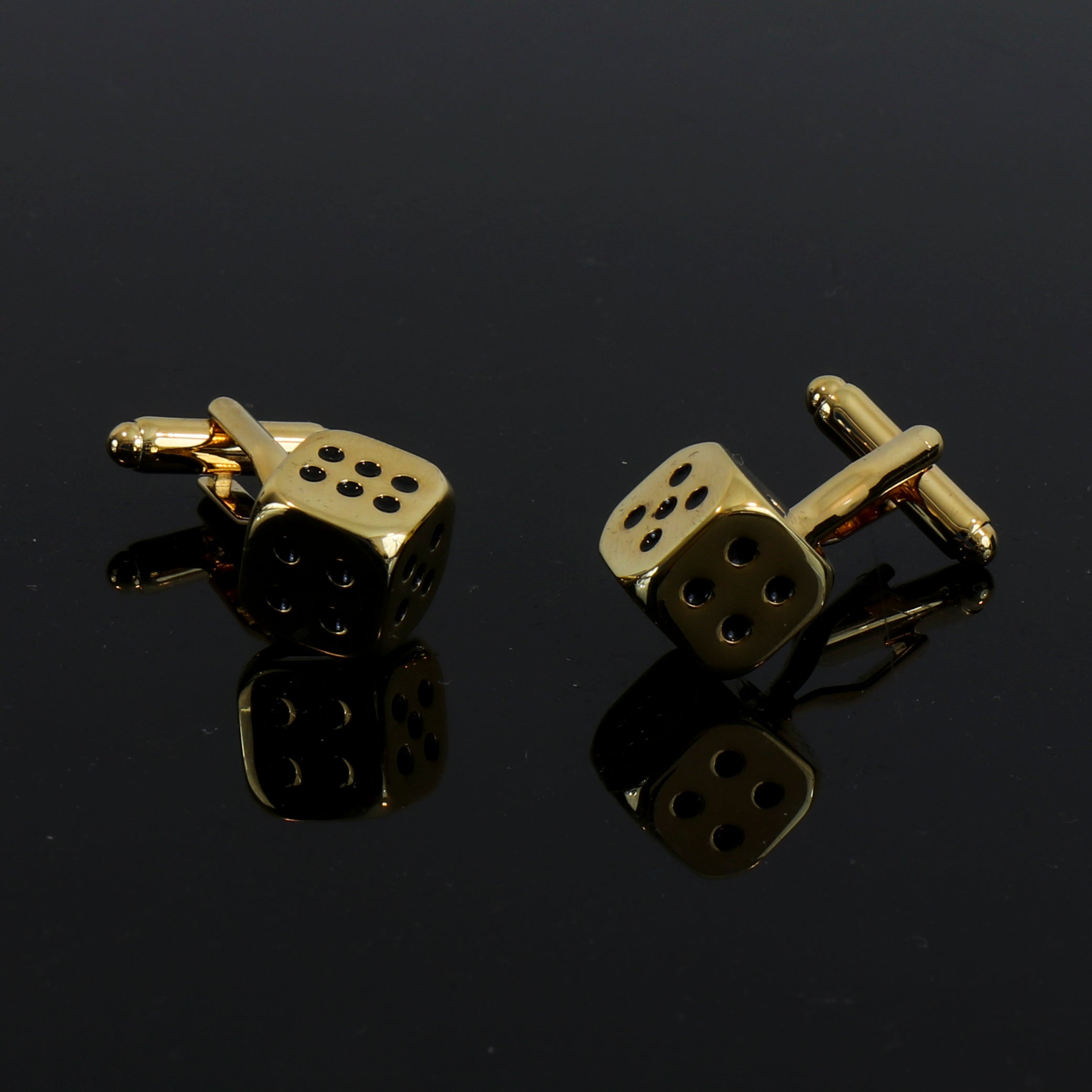 Men's Stainless Steel Gold Dice Cufflinks with Box - Amedeo Exclusive