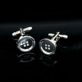 Men's Stainless Steel Silver Buttons Cufflinks with Box