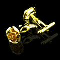 Men's Stainless Steel Gold Rose Cufflinks with Box