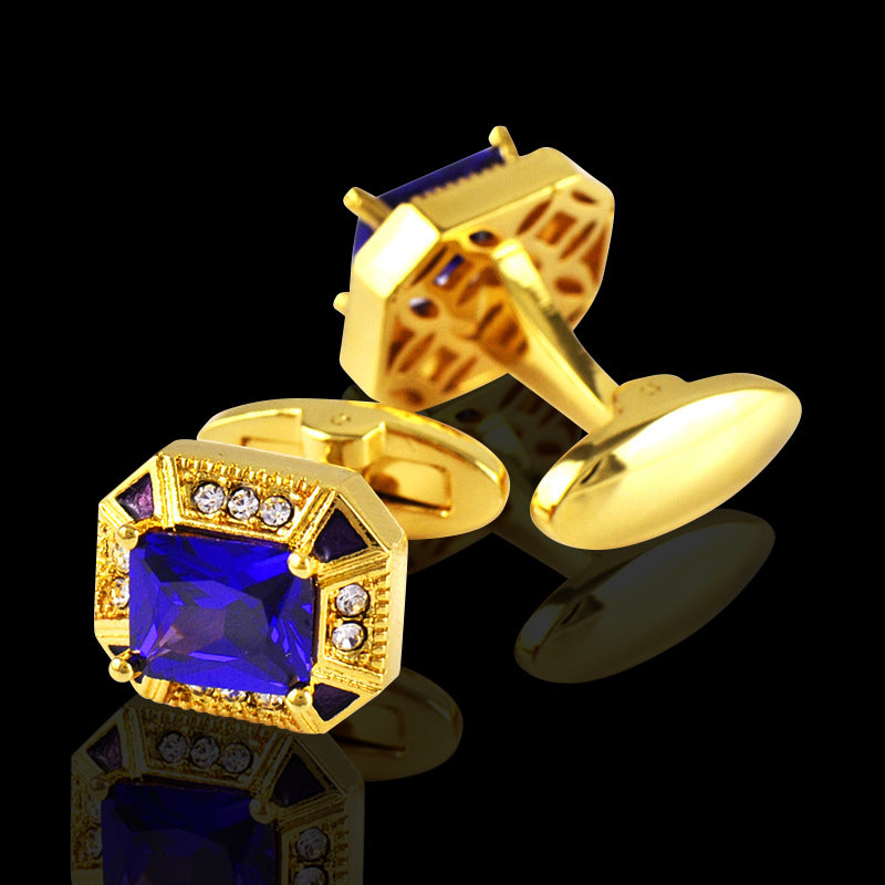 Men's Stainless Steel Gold & Blue Cufflinks with Box - Amedeo Exclusive