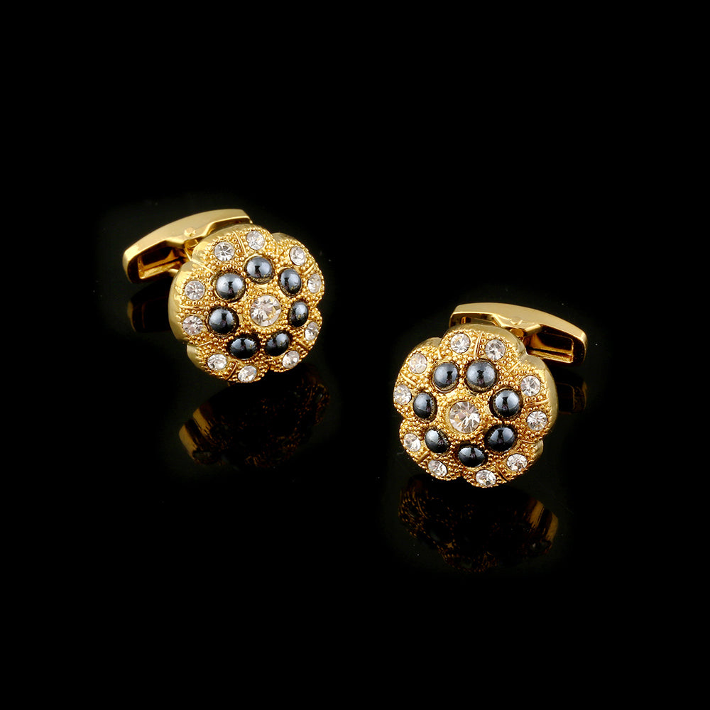 Men's Stainless Steel Gold Black Flowers Cufflinks with Box - Amedeo Exclusive